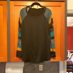 Black Gold and Teal Striped Sleeve Shirt